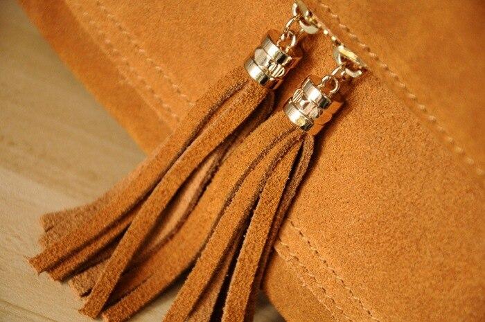 Women Genuine Leather Fringe Shoulder Bags Fashion Cow Suede Tassel Brown Chain Multi Pockets Crossbody Bucket Bags (4)