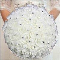 Oszałamiająca Kryształ Sztuczne Wiązanki Ślubne Dodatki Ślubne Rose Kwiaty De Mariage Bridal Bouquet kwiaty sztuczne