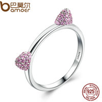 BAMOER Authentic Real 100 925 Sterling Silver Cute Cat Ears Pussy Ears Pink CZ Ring For