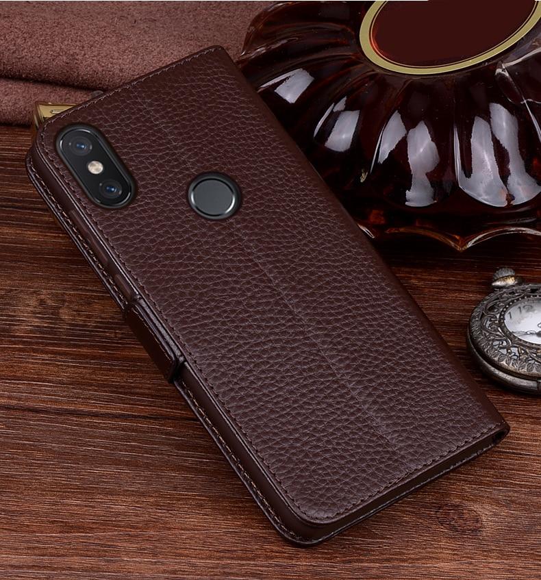 Xiao mi mi Max 3 étui de luxe en cuir véritable flip portefeuille coque de téléphone Xiao mi MAX3 vintage kick-stand antichoc cas - 3