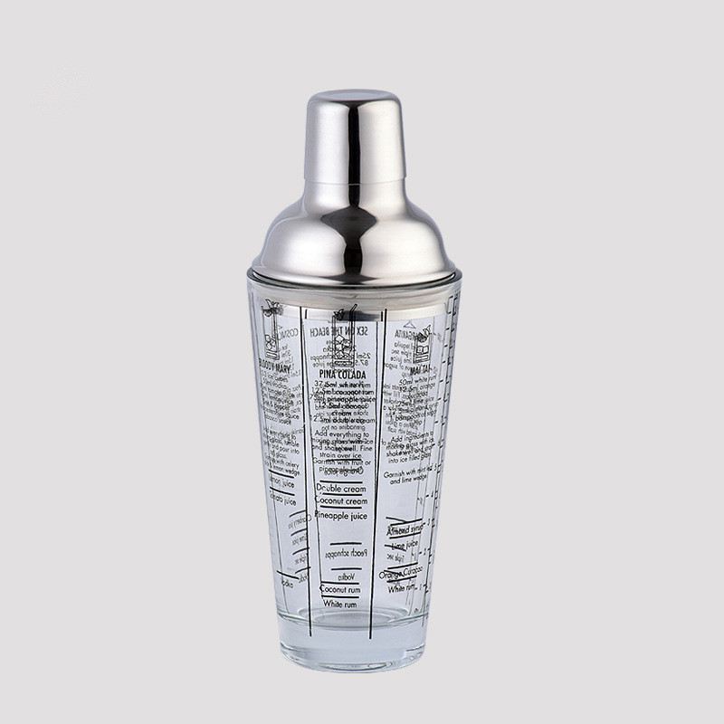 400ML Glass Recipe Cocktail Shaker Bar Tools Measuring Beaker with Stainless Steel Lid