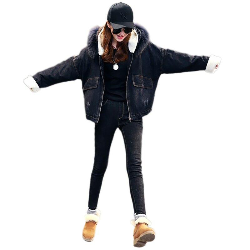 Mode Black À Capuche Épaissir Veste Femmes Manteau Qualité Couleur Lâche Printemps Lj257 Automne D'extérieur Solide Vêtements De Longues Nouvelle Denim Manches Supérieure 15w7q0Zw