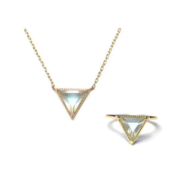 Ruifan Top Quality Triangle Natural Topaz 9K Gold Color 925 Sterling Silver Sets Necklace&Ring Jewelry Set Woman YNC068+YRI094