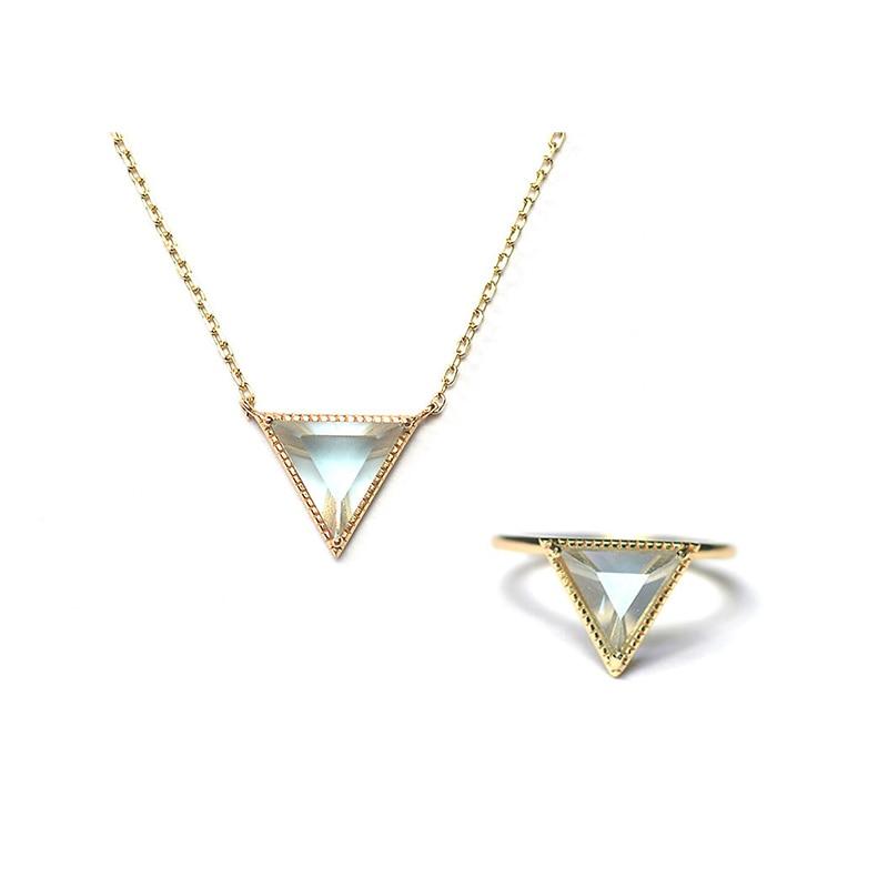 Ruifan Top qualité Triangle topaze naturelle 9 K couleur or 925 Sterling argent ensembles collier et bague bijoux ensemble femme YNC068 + YRI094