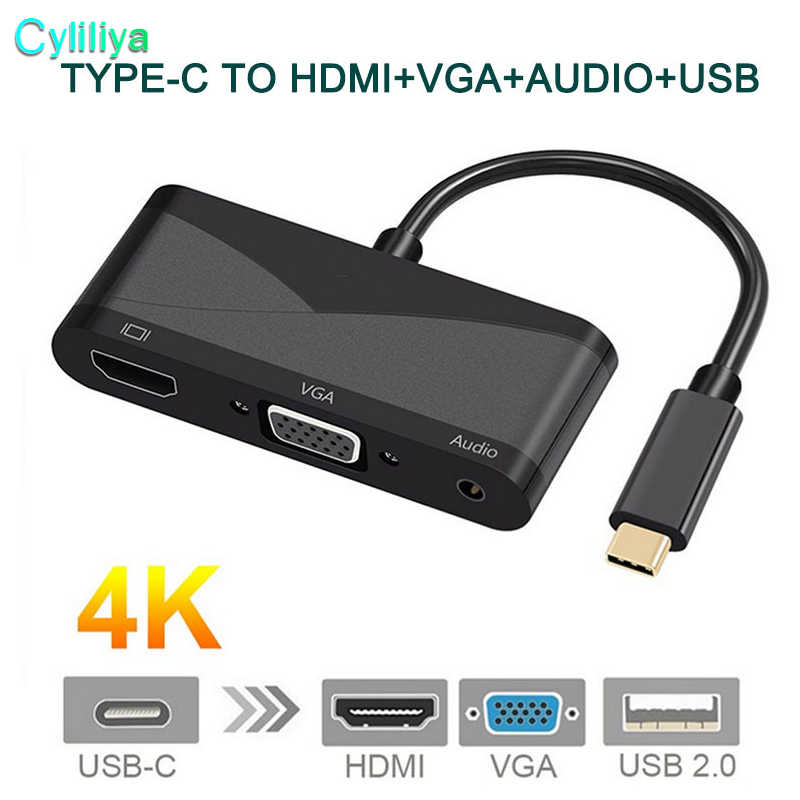 USB C Tipe C ke HDMI VGA 3.5mm Audio Adapter 3 dalam 1 USB 3.1 Kabel Converter untuk Laptop Macbook USB-C Google