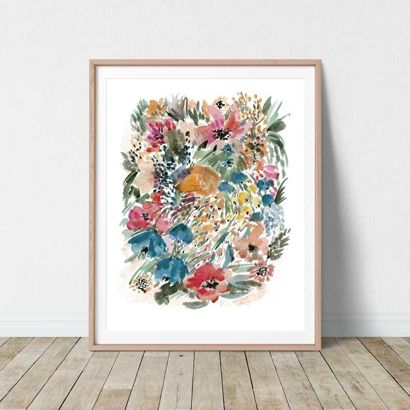 Watercolor Flowers Botanical Poster Print Colorful Floral Wall Art Canvas Painting Wall Picture For Living Room Home Decor