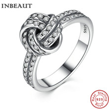 INBEAUT Sterling Silver Sparkling Twisted LOVE KNOT Ring for Women Weave Wedding Statement Finger Rings Engagement Jewelry Girls