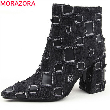 MORAZORA 2019 Newest style ankle boots women denim high heels boots pointed toe spring autumn fashion office shoes ladies