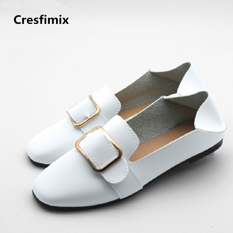 Cresfimix zapatos women cute flat shoes lady spring and summer pu leather flats female casual soft comfortable slip on shoes cresfimix sapatos femininas women casual soft pu leather flat shoes with side zipper lady cute spring