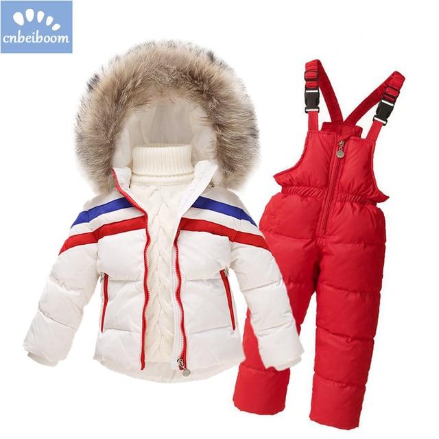 Детский зимний комбинезон для мальчиков и девочек, зимние брендовые  комплекты одежды, детский лыжный костюм 109a594976f