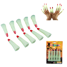 Hot Selling 10pcs/set Glow In The Dark Halloween Finger Zombie Witch Costume Party Supplies Props Luminous False Nail Sets Scary