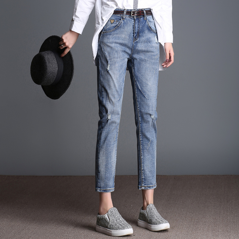 FOKINOFE Elastic Loose Skinny Bottom Ankle Length Harem Jeans Ripped Hole BF Jeans 2017 Spring Plus