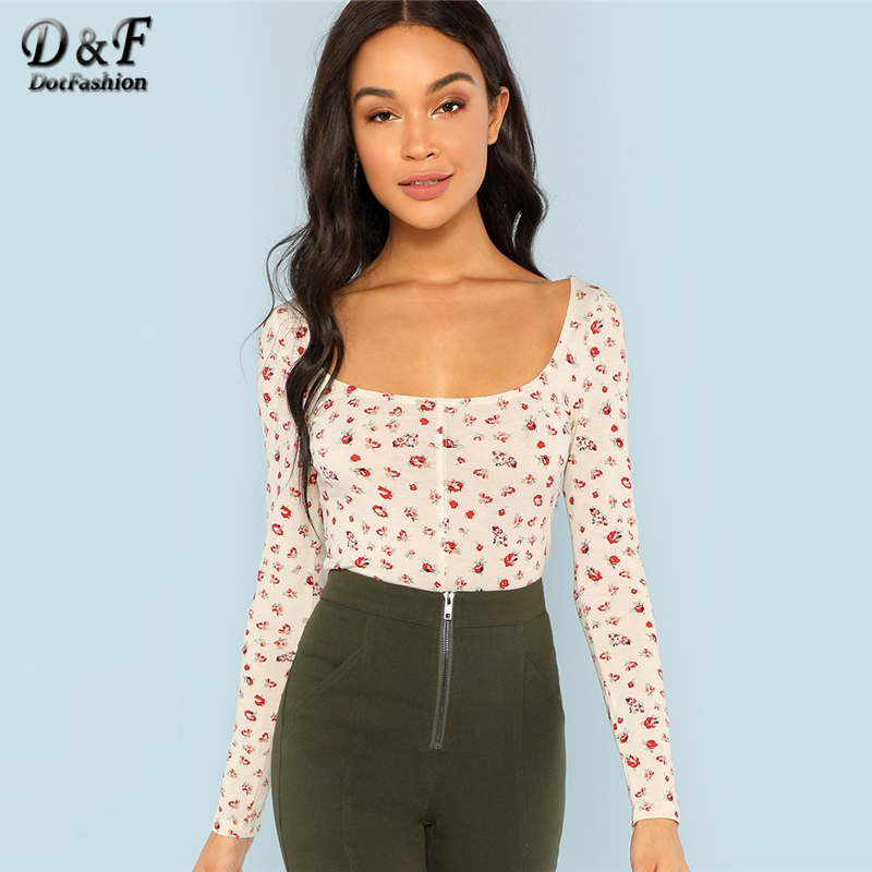Dotfashion Floral Print Square Neck Apricot Tee Autumn Women Casual Long Sleeve 2019 Tops New Spring Female Slim Fit T-Shirt