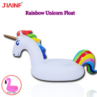 JIAINF 2018 Swimming Pool Inflatable Rainbow Unicorn Water Pool Floats Pegasus Float Air Rafts Summer Water Fun Pool Toy