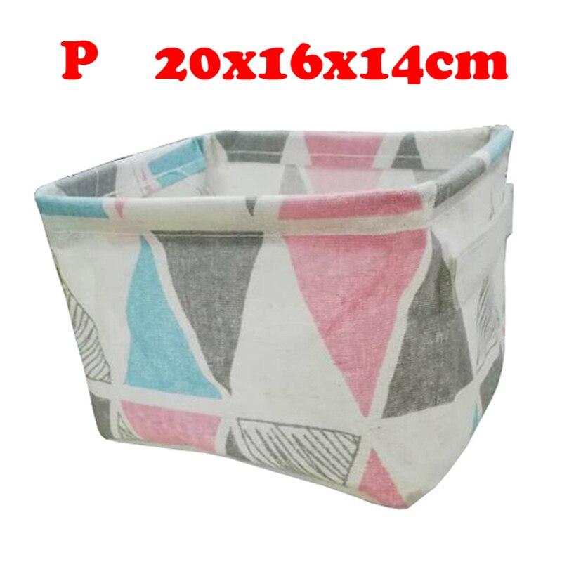 Настольный ящик для хранения с милым принтом, водонепроницаемый органайзер, хлопок, лен, корзина для хранения мелочей, шкаф, нижнее белье, сумка для хранения - Цвет: P