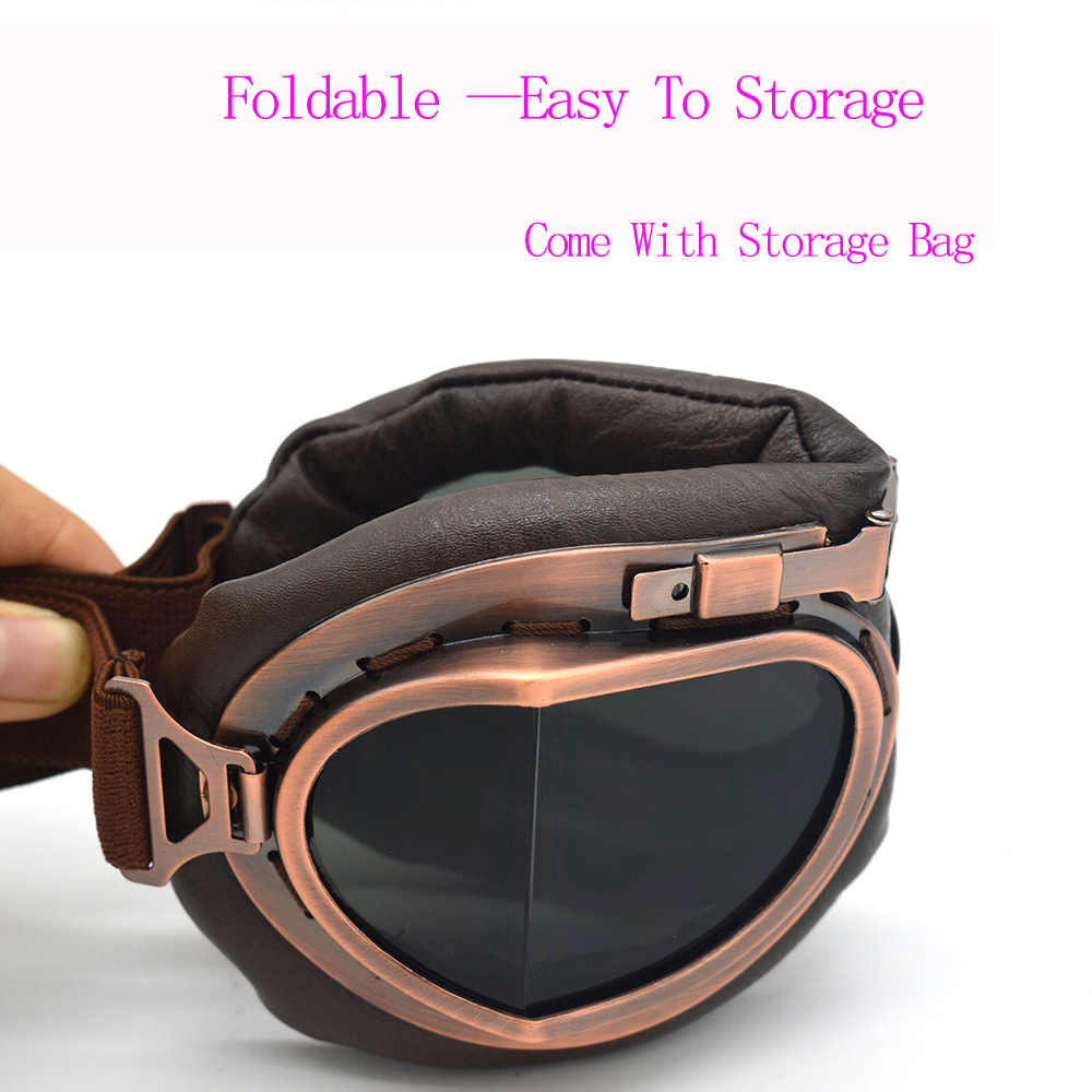 H-MetHlonsy Foldable Retro Motorcycle Goggles Jet Pilot Aviator Cruiser Vintage Moto Biker Cycling Goggles Scooter Glasses