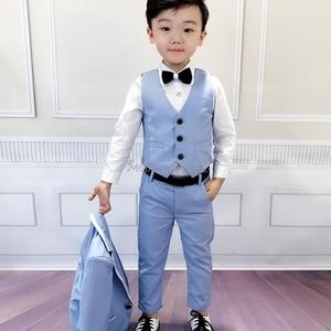 2019 Flower Boys Tuxedo Suit for Wedding Kids Birthday Party Dress Blazer+Vest+Pant 3pcs Clothing Set Children Ceremony Costume
