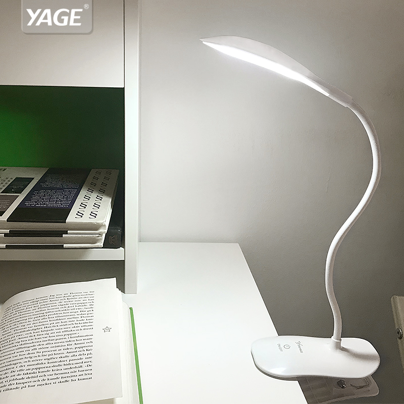 YAGE Led Desk Lamp Reading Lamp For Study Usb Battery 14 Led Table Lamp Clip Led