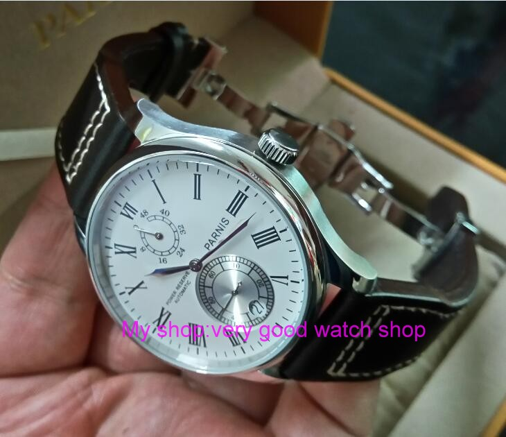 43mm PARNIS White dial Automatic Self-Wind Mechanical movement men's watch Auto Date power reserve Mechanical watches zd305A 43mm parnis black dial automatic self wind mechanical movement power reserve mechanical watches men s watch x00066
