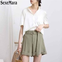 2017 New Summer Women S Casual Pants Are Loose Waisted Shorts Pants All Match Flanging Belt
