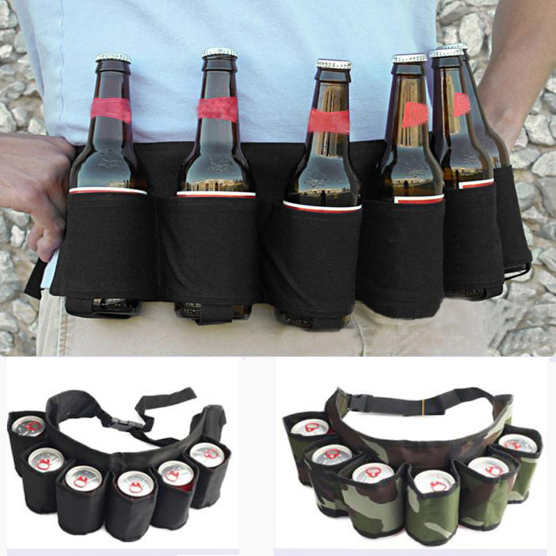 Outdoor Climbing Hiking 6 Pack Holster Portable Bottle Waist Beer Belt Bag Handy Wine Bottles Beverage Can Holder Drop Shipping