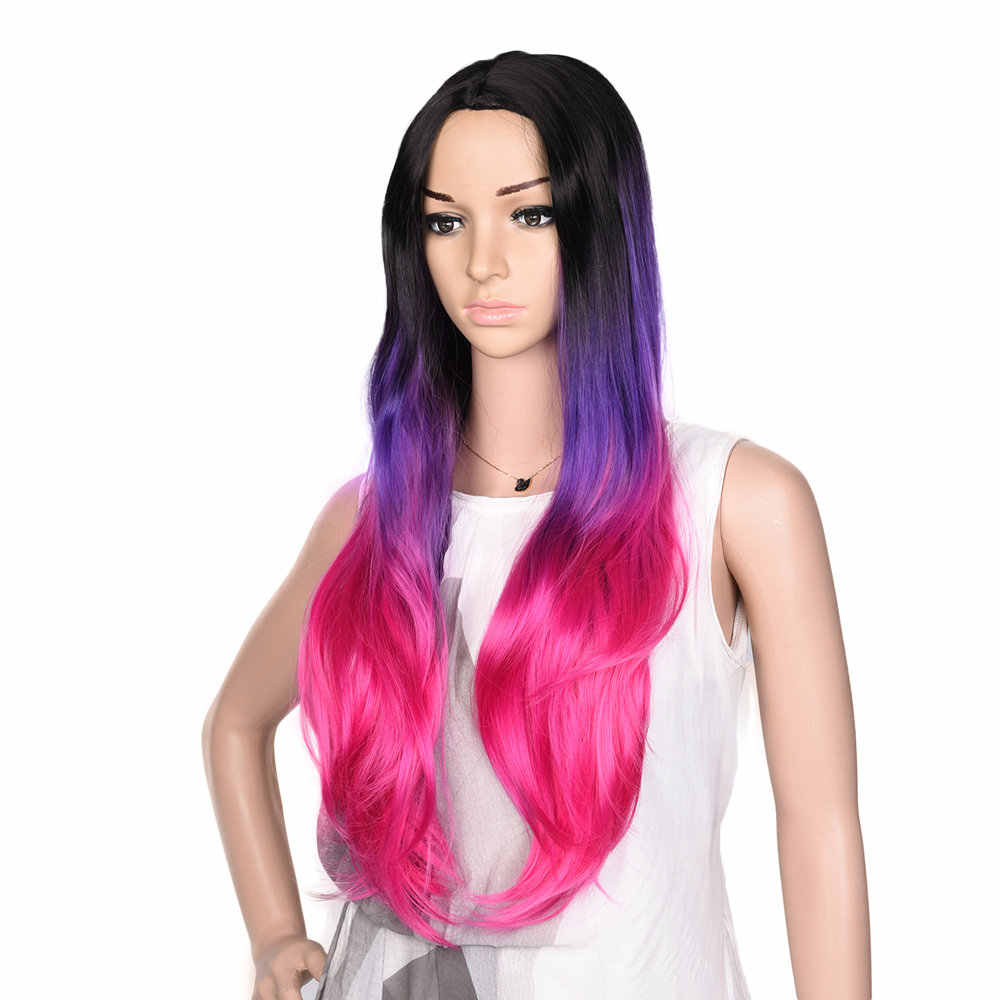Feilimei синтетические парики с эффектом омбре розовый, красный, серый, фиолетовый термостойкие волосы для наращивания 26 дюймов длинные волнистые женские парики для косплея