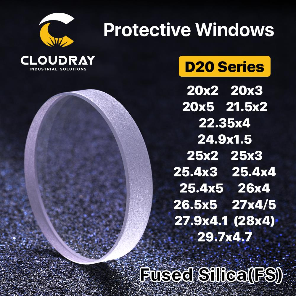 Cloudray Laser Protective Windows D20 - D29 Series Quartz Fused Silica For Fiber Laser 1064nm Precitec Raytools WSX