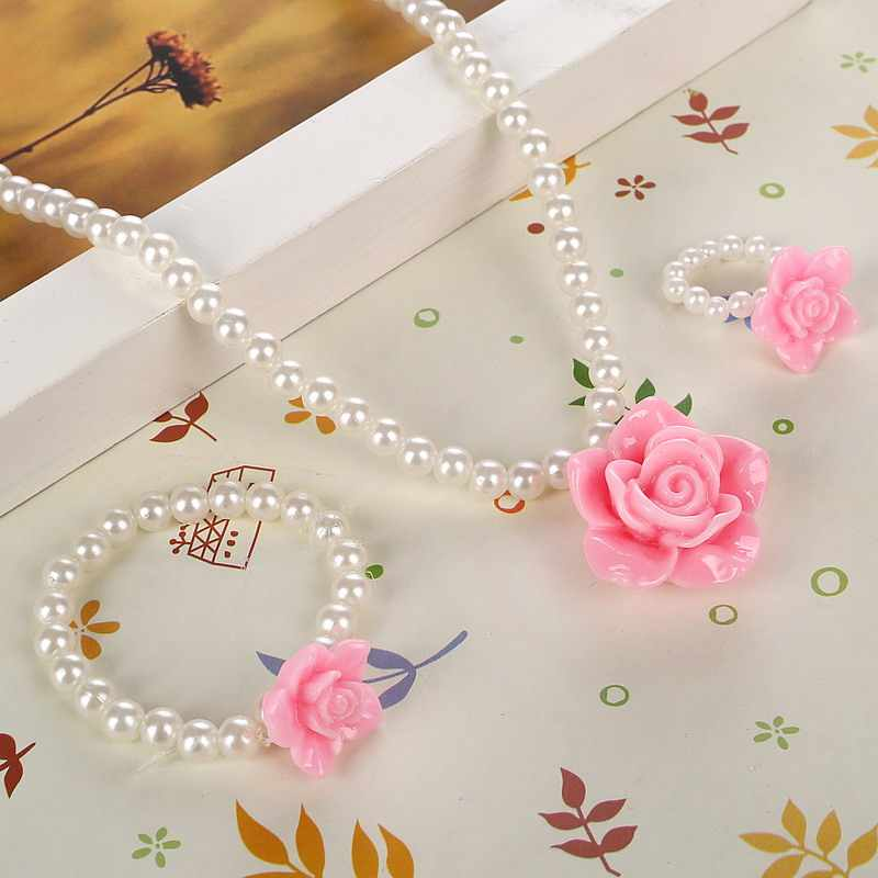 Imitation Pearls For Girls Children Flower Pendant Necklaces Bracelets Rings Sets For Baby photography Children's Accessories