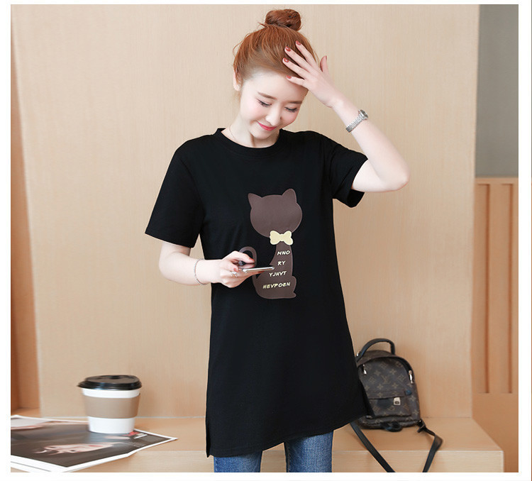 2018 Large size Women T-shirt dress summer Short sleeve Cats print Top Tees Casual O-neck Loose Female Tshirt Plus size 5XL J215 23