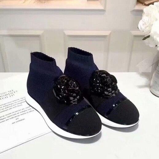 Женская вязаная удобная обувь на плоской подошве, повседневные Нескользящие кроссовки bota feminina, осень 2019