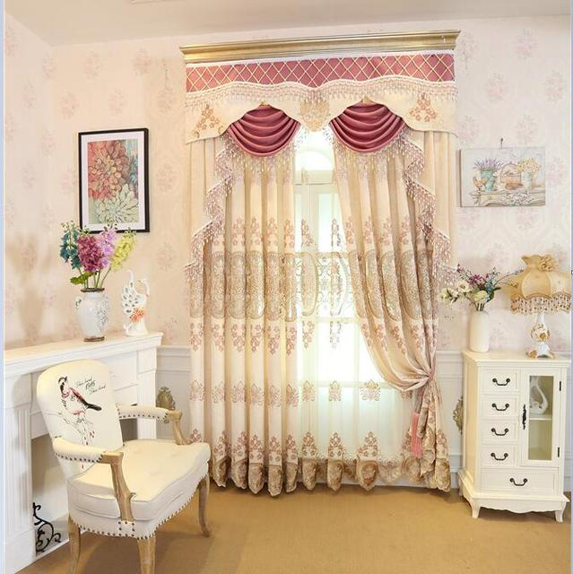 FYFUYOUFY European Style Upmarket Chenille Embroidered Curtain Cozy Living  Room Bedroom Fine Embroidery Tulle Soft Feel