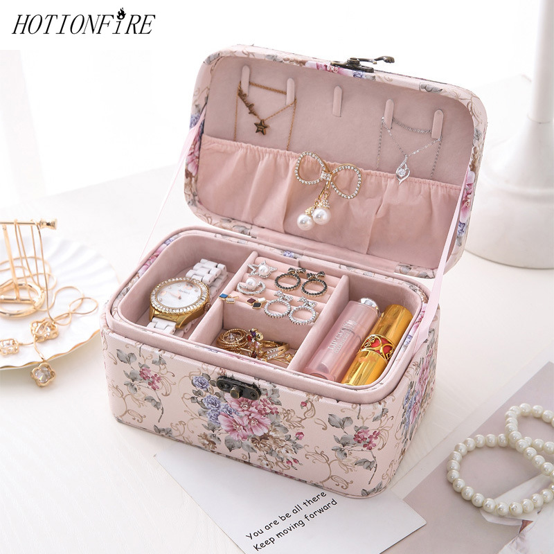Women Cosmetic Case Portable Large Capacity Lipstick Necklace Storage Box Waterproof Lovely New Travel Make Up Bag Professional