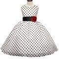 Nova Chegada 2017 Princesa Vestido Da Menina de Verão Clássico White Black Polka Dots Crianças Vestidos de Dança Para A Menina Vestidos de Tutu