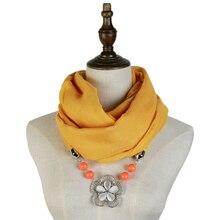 Jzhifiyer scarf women pendant necklace jewellery neckwear viscose spring shawl hijab feminino fashion bandana luxury brand
