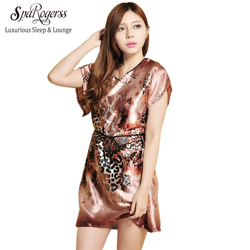 cbe2d62b60 SpaRogerss Women Sleep Lounge Summer 2018 Leopard Print Ladies Dressing  Gown Print Casual Sleepshirts Nightgown For Woman YT7701-in Nightgowns    Sleepshirts ...