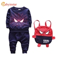 Babyinstar 2017 Cartoon Spider-man Set Baby Kids Boys Sweatshirt Sport Suits+Cute Bag 3pcs Outfit Sets Children Clothing Set