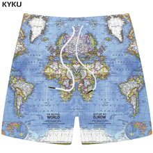 KYKU World Map Shorts Men Blue Sea Casual Cargo Graphics 3d Printed Short Pants Sweat Anime Mens Fashion Summer
