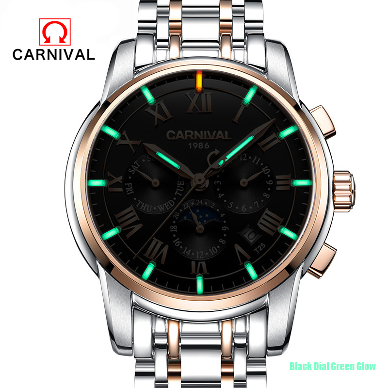 цена на CARNIVAL Mens Watches Brand Luxury Business Stainless Steel Mechanical Watch Men Sport Tritium Luminous Waterproof Wristwatches