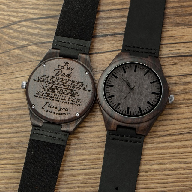 Engraved Wooden Men Groomsmen Watch For Husband Son Natural Ebony Customized Wood Birthday Anniversary Gift