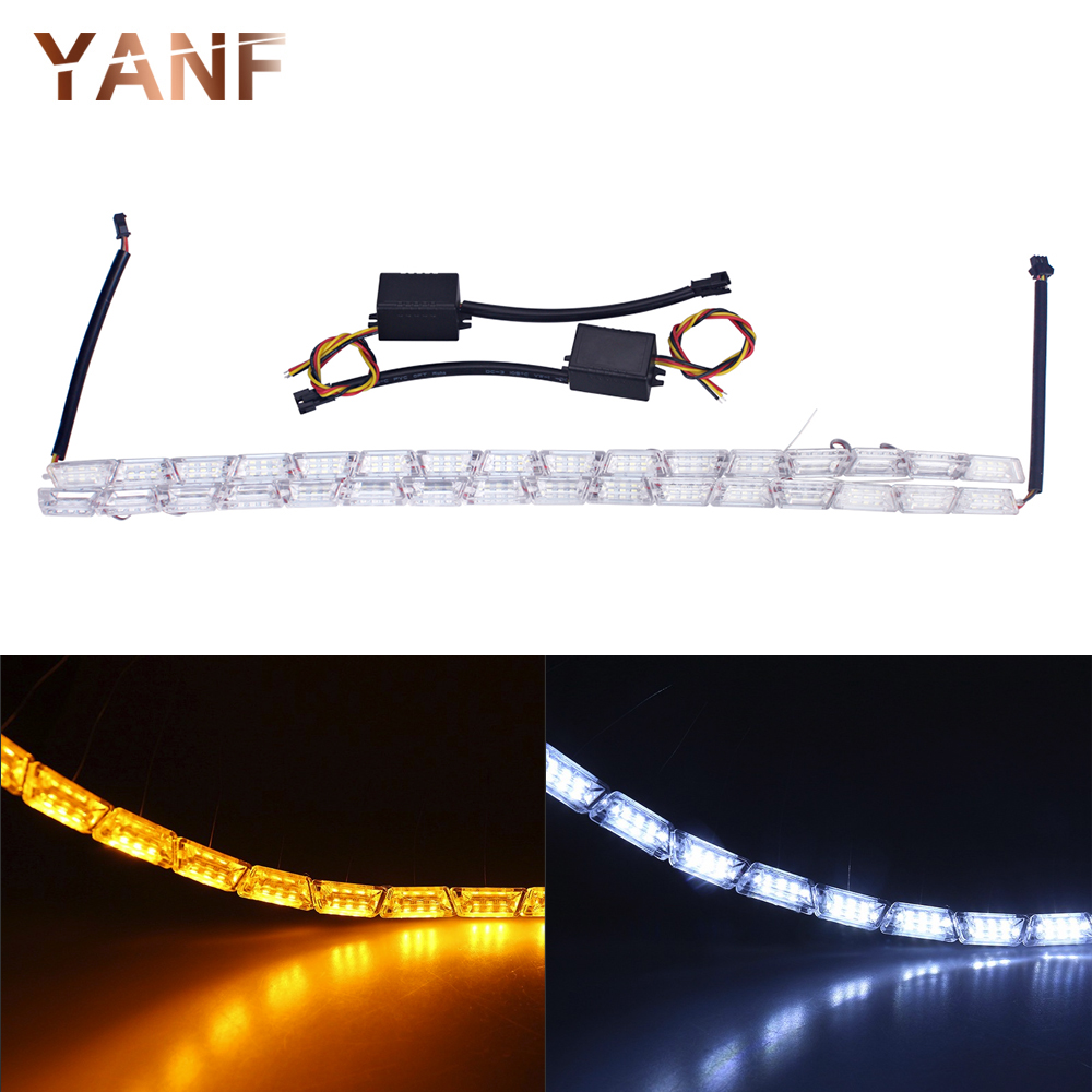 2xCar Styling LED Flexible Switchback Knight Rider Strip Daytime Running Light for Headlight Sequential Flasher DRL Turn Signal 6pcs 60cm flexible tear strip switchback daytime running light drl with turn signal light 7 dual color fd 4767