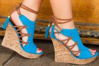 Woman beautiful royal blue wedges sandal Summer sexy cut outs design charming tassels ankle lace up peep toe female party shoes