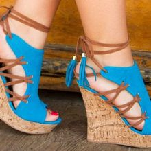 48e87cd3aa2a63 Woman beautiful royal blue wedges sandal Summer sexy cut outs design  charming tassels ankle lace up