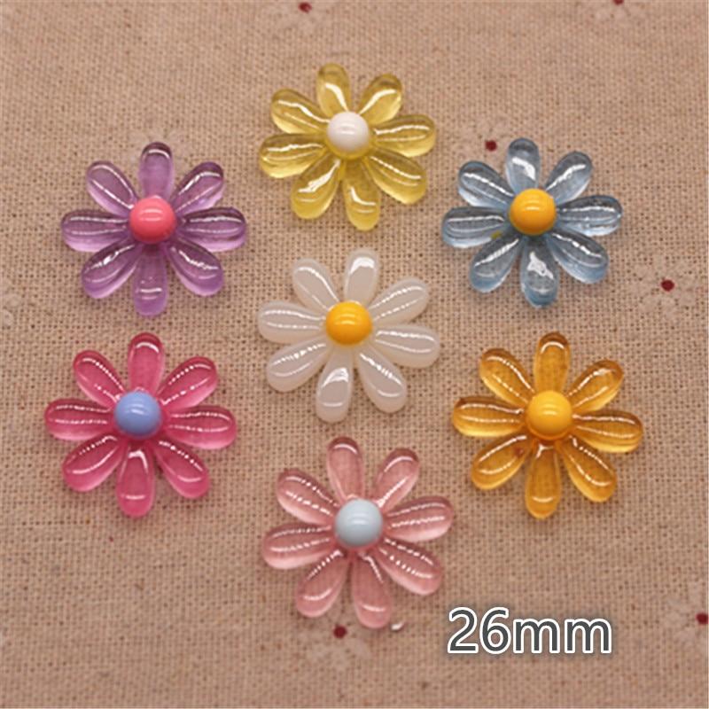 50PCS Mix Colors 13mm Cute Vintage Resin Five-Petal Flowers Flatback Cabochon Em