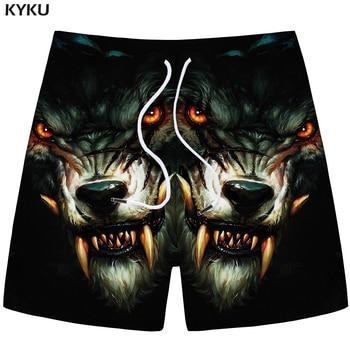 KYKU Wolf Shorts Men Animal Casual Short Pants Cargo Black Beach 3d Printed Gothic Fitness Mens New Male Summer