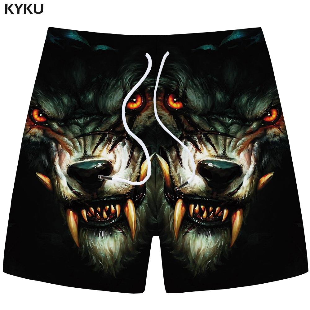 KYKU Wolf   Shorts   Men Animal Casual   Short   Pants Cargo Black Beach 3d Printed   Shorts   Gothic Fitness Mens   Shorts   New Male Summer