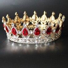 Hot Selling Round Baroque Crown Red Blue Clear Crystal Rhinestone Crowns Wedding Bridal Tiaras Women Birthday