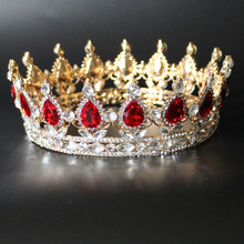 Hot Selling Round Baroque Crown Red Blue Clear Crystal Rhinestone Crowns Wedding Bridal Tiaras Women Birthday Party Tiara FS012
