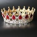 Round Baroque Crown Gold Plated Red Blue Clear Crystal Rhinestone Crowns Wedding Bridal Crown Women Birthday Party Tiara FS012