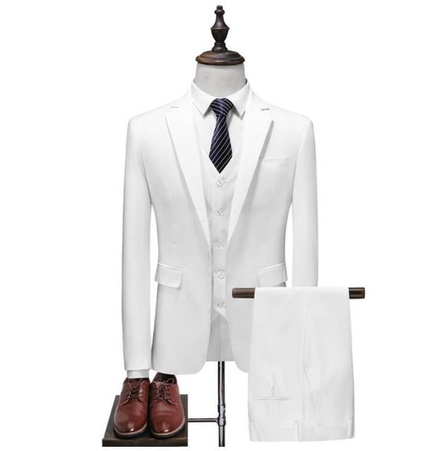 White Men's Formal Custom Suits Wedding Tuxedo Casual Men Business Latest Suits Fashion Dinner Prom 3 Pieces Blazer Vest Pants