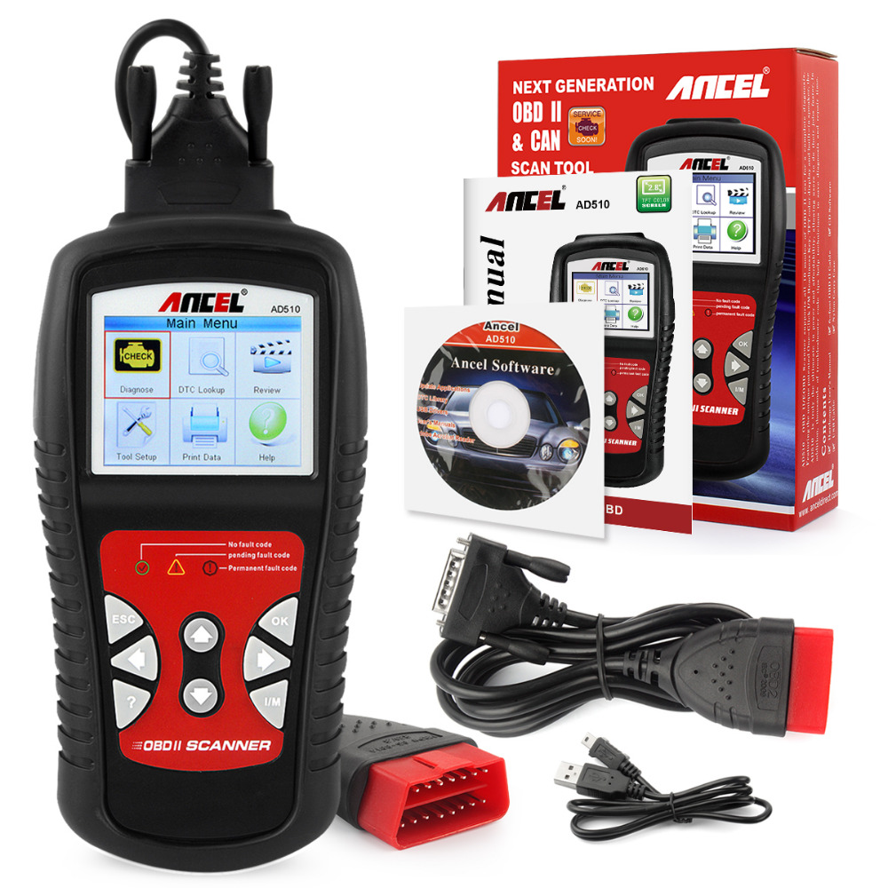 Ancel AD510 OBD2 Car Diagnostic Tool Automotive Scanner In Russian Diagnostic Scanner For Car OBD2 Code Reader Diagnostic-Tool free shippinng diy om580 obd scanner automotive obd2 eobd car code reader for engine abs dsc srs fault diagnostic tool